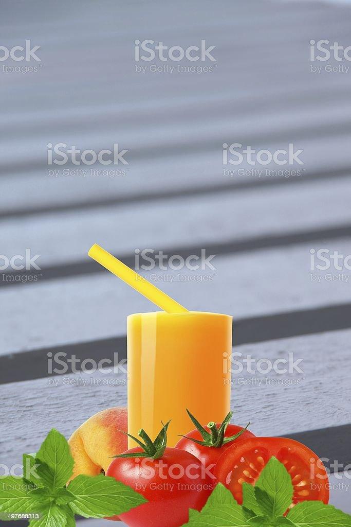Orange juice with vegetable stock photo