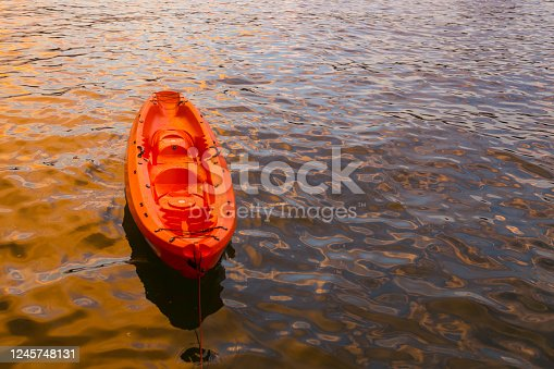 Orange kayak on the sea-Travel Concept