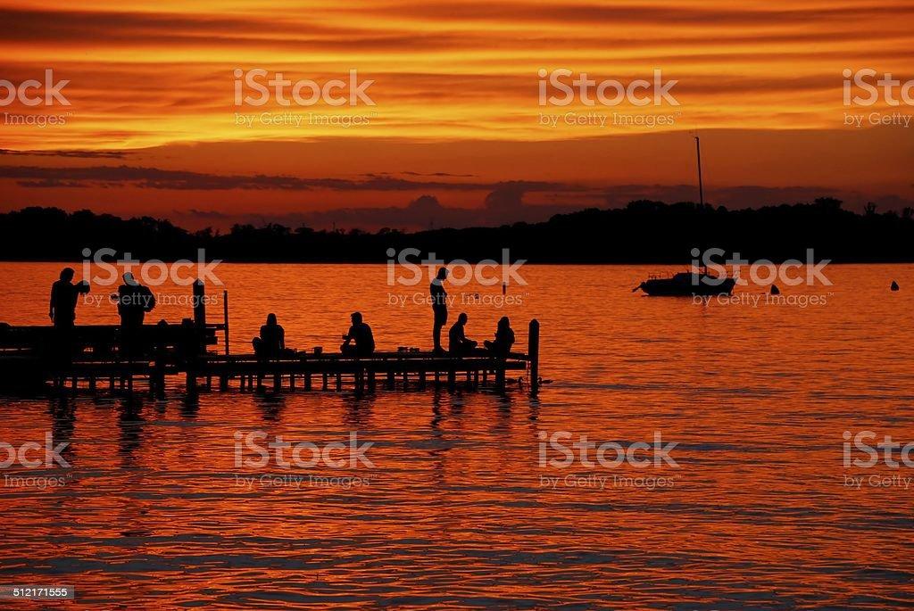 Orange Lake Mendota Sunset stock photo
