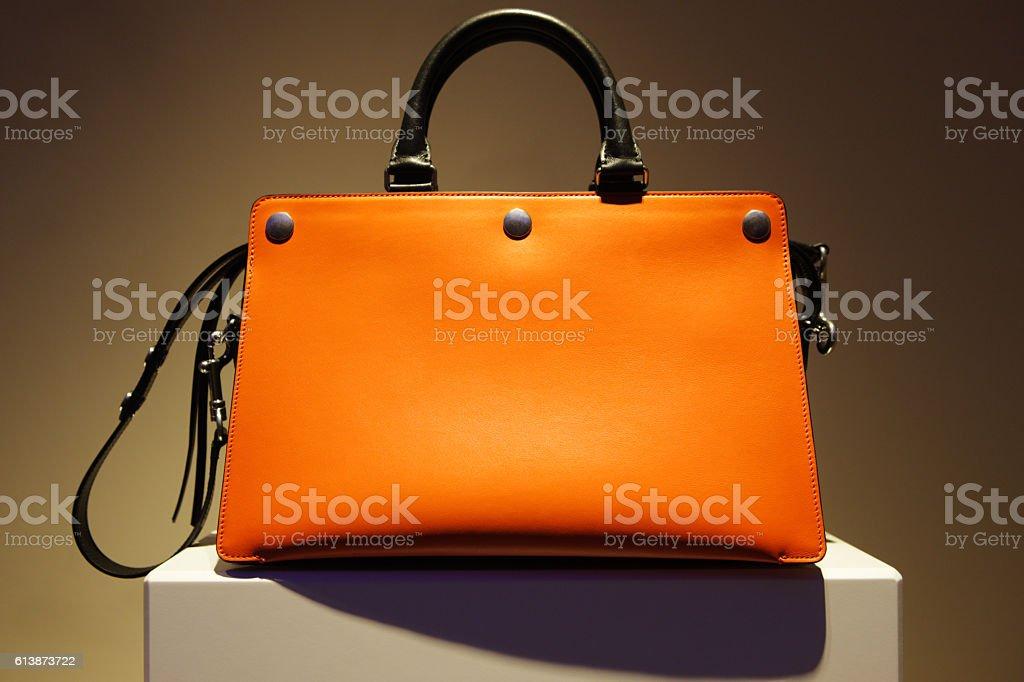 Orange Leather Purse Fashion Accessory stock photo