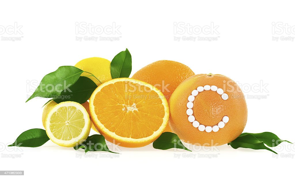 Orange lemon grapefruit with vitamin c pills over white background orange lemon grapefruit with vitamin c pills over white background royalty free stock malvernweather Image collections