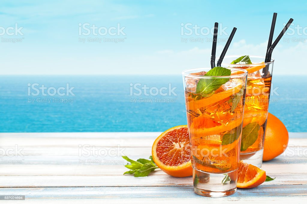 Orange lemonade with mint. stock photo
