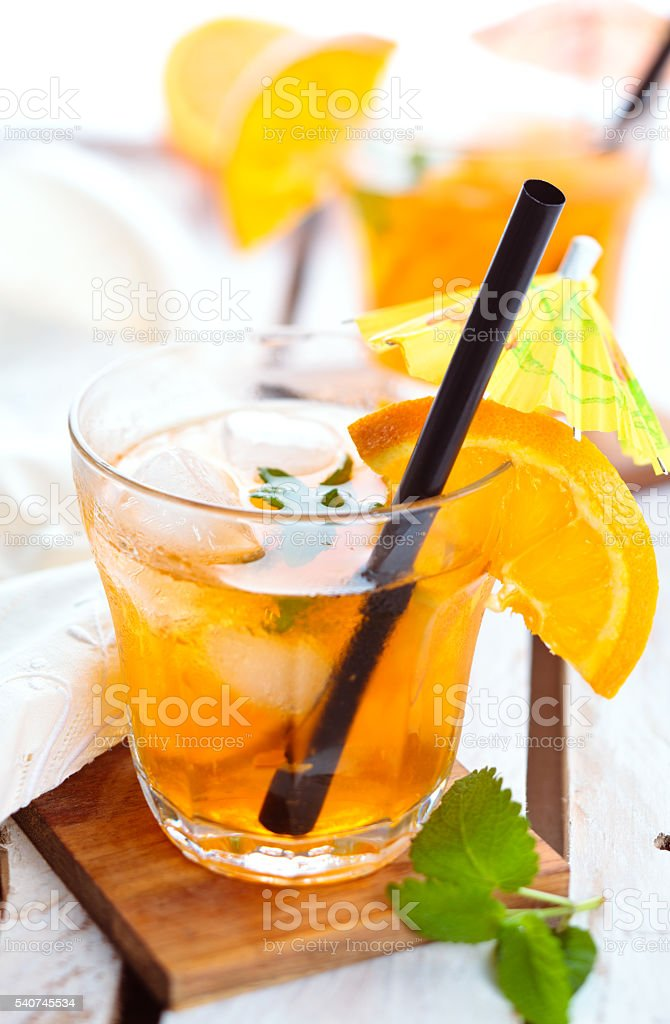 Orange lemonade with mint. stock photo