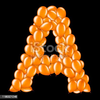 istock Orange letter A from helium balloons part of English alphabet. 1180021246