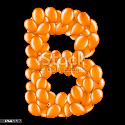 istock Orange letter B from helium balloons part of English alphabet. 1180021327