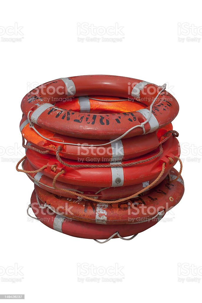 orange life belts stock photo