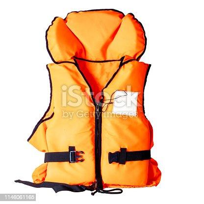 orange life jacket isolated on white background