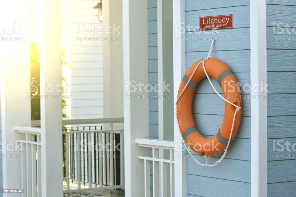 Rettungsring Orange Alles Wasser Rettung Notfallausrüstung Es Hängen ...