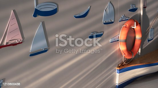 Side view and selective focus at orange lifebuoy and wooden boat with sunlight and shadow stripes on surface of gray wall decoration background in living room