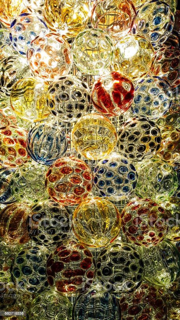 Orange lighting effect on glass ball - foto de acervo