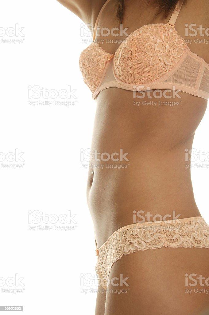 orange lingerie on tanned torso royalty-free stock photo