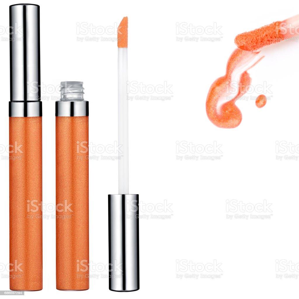 Brillant à lèvres orange, échantillon photo libre de droits