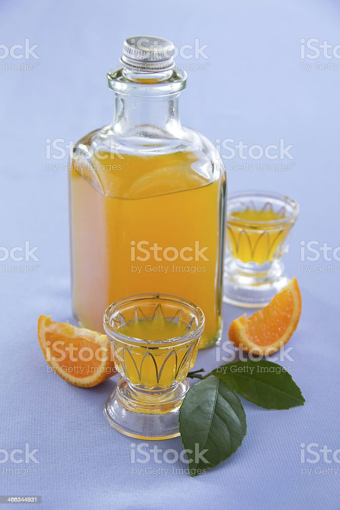 Orange liqueur cooked at home. stock photo