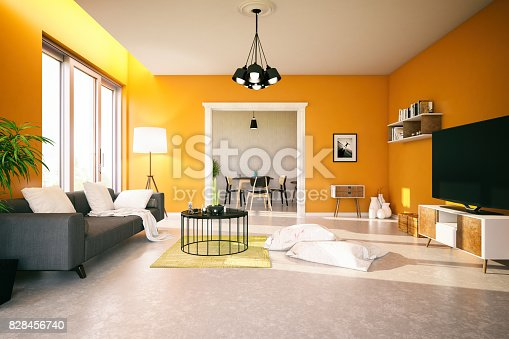 Modern living room with orange walls