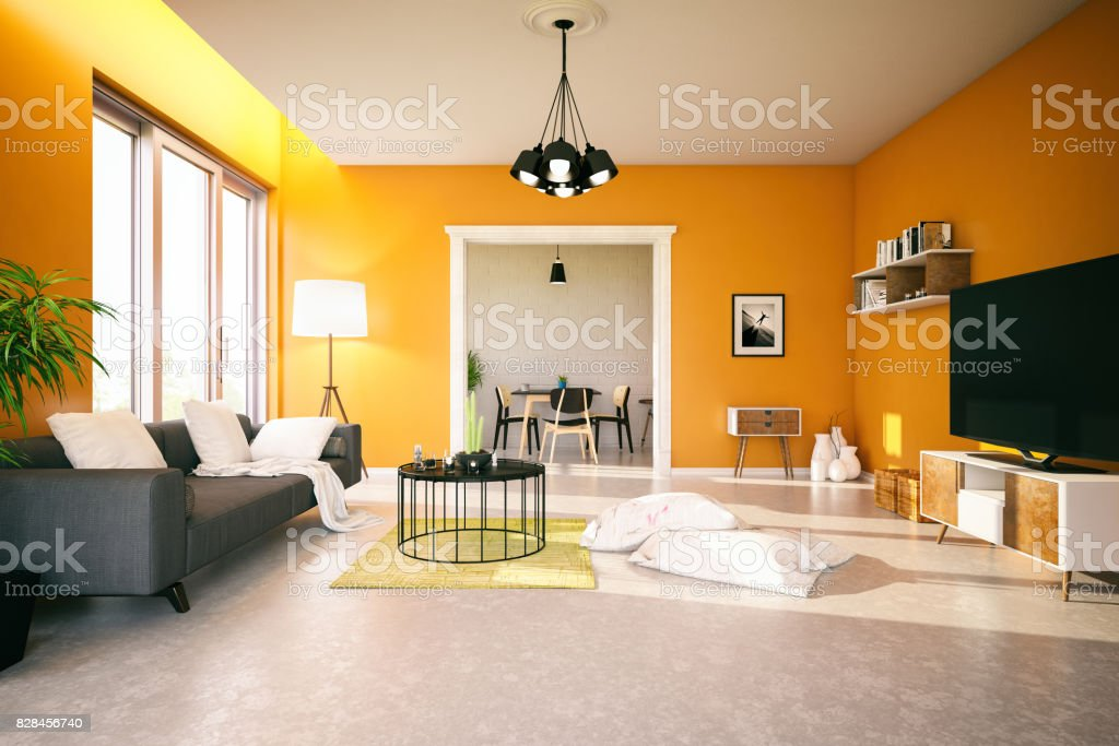 Orange Living Room stock photo