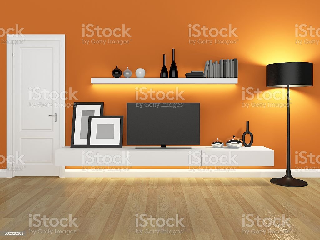 Orange Living Room With Tv Stand And Bookcase Rendering