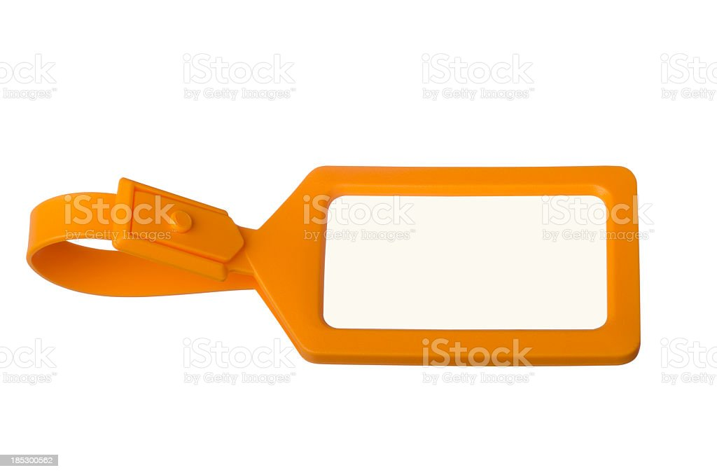Orange luggage tag with copy space stock photo