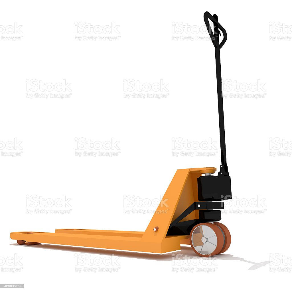 Orange manual hand hydraulic pallet truck stock photo