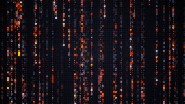 orange-matrix regen digitalen hex-code - generator text stock-fotos und bilder