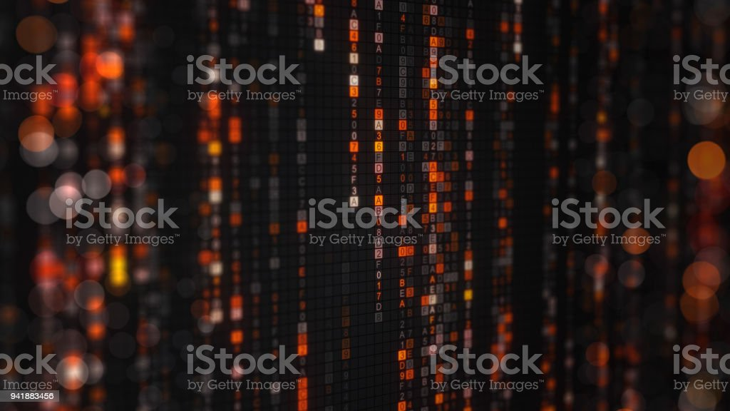 Orange matrix rain of digital HEX code with bokeh stock photo