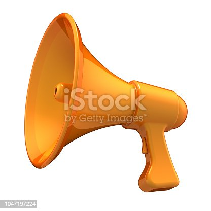 orange megaphone communication news blog loudspeaker bullhorn stylish yellow. message amplifier, announcement PR broadcasting icon concept. 3d illustration