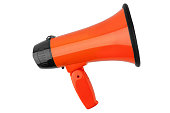 istock Orange megaphone on white background isolated close up, hand loudspeaker design, loud-hailer or speaking trumpet, announcement symbol, speaker voice volume increase device, media or communication sign 1144997267
