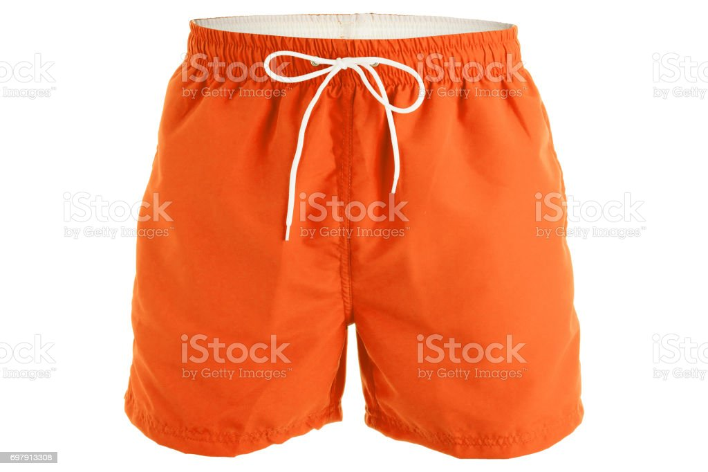 Orange men shorts for swimming stock photo