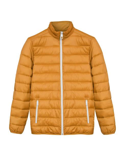 橙色男子運動滑雪冬季羽絨服隔離白色 - 冬天大衣 個照片及圖片檔