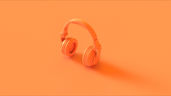 Orange Modern Headphones 3D illustration