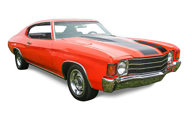 orange muscle car - classic cars stock photos and pictures