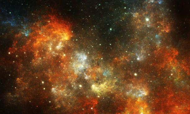 Orange nebula background stock photo