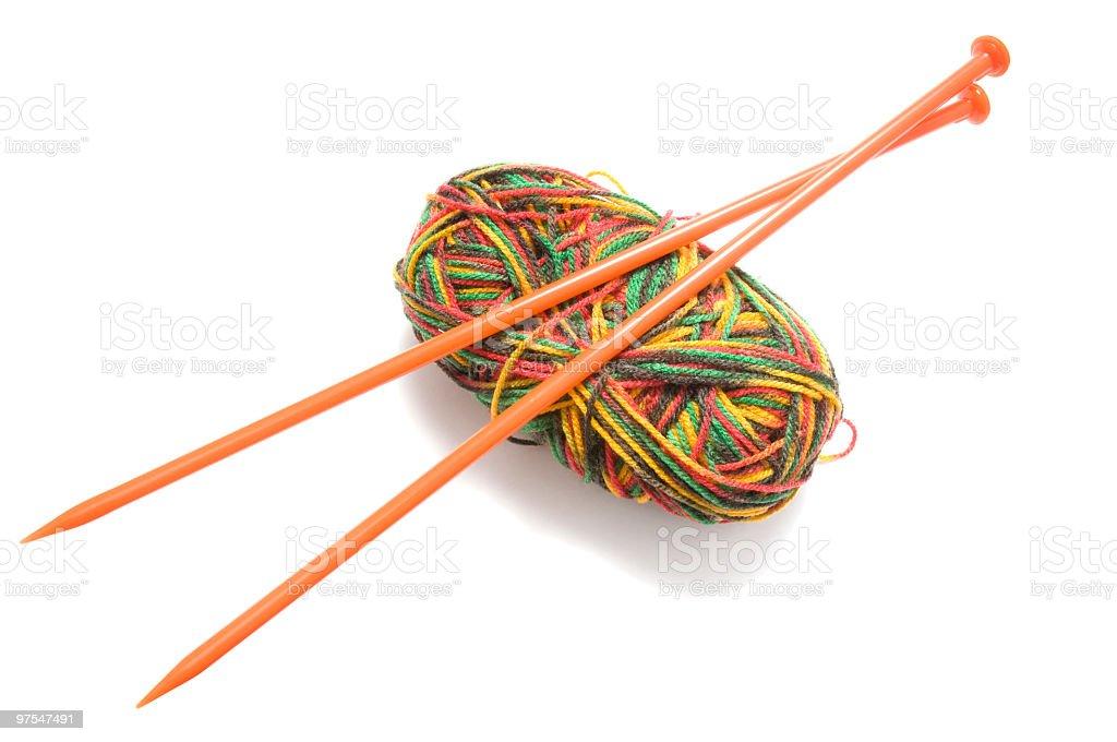 Orange aiguilles et laine photo libre de droits