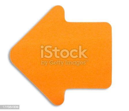 istock orange note paper arrow - Klebezettel pfeil nach links 174984906