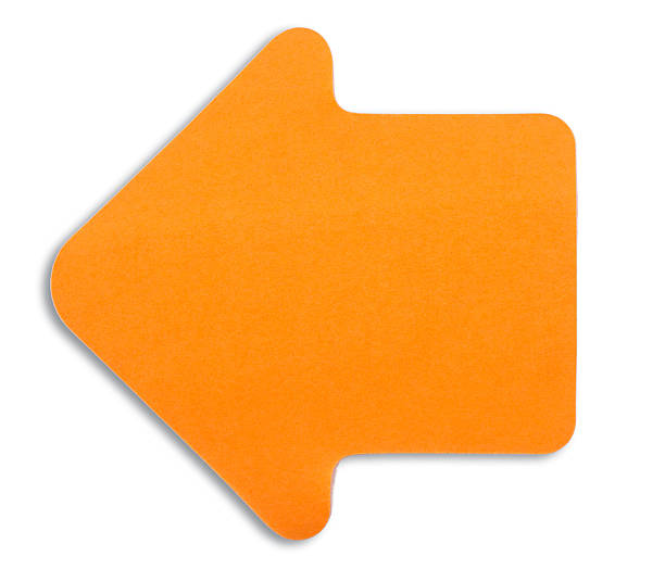 orange Hinweis Papier pfeil-adhesive roller arrow nach links – Foto