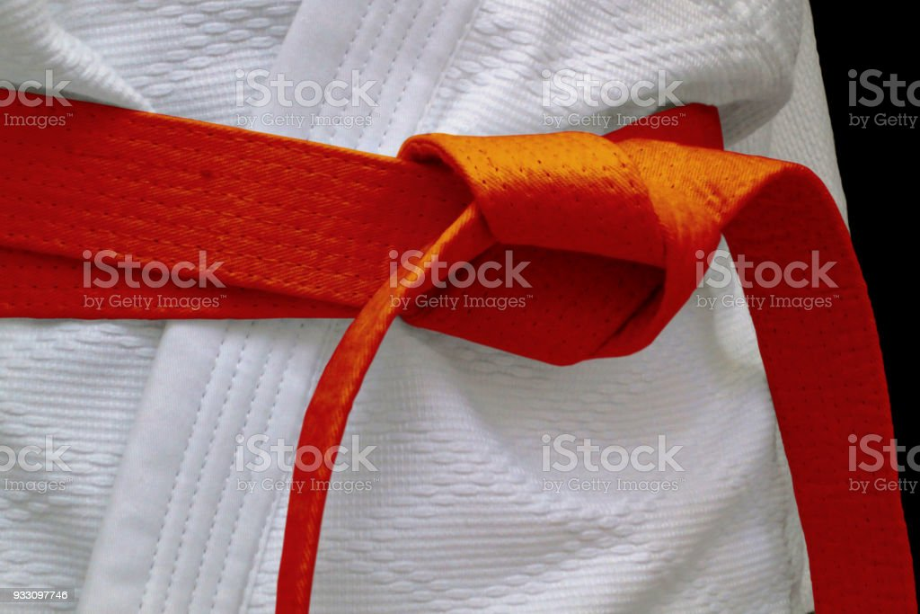 Orange obi sash stock photo