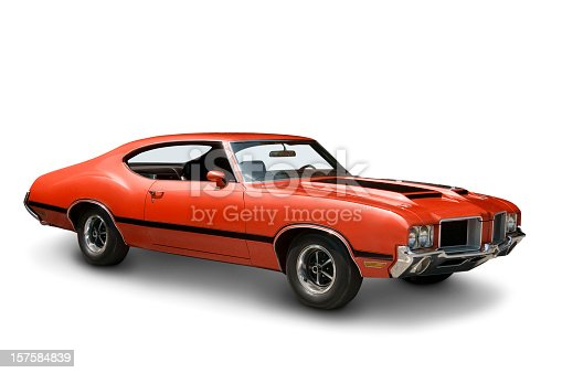 An all original Oldsmobile 442 muscle car from 1970. Clipping path on vehicle. Logos removed.