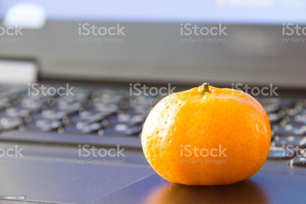 orange on laptop stock photo