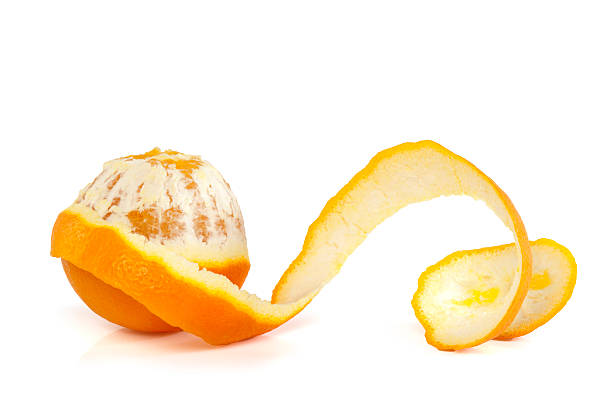 orange on white background - peeled stock photos and pictures