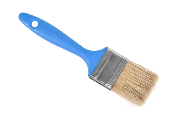orange Paint brush isolated on white background stock photo