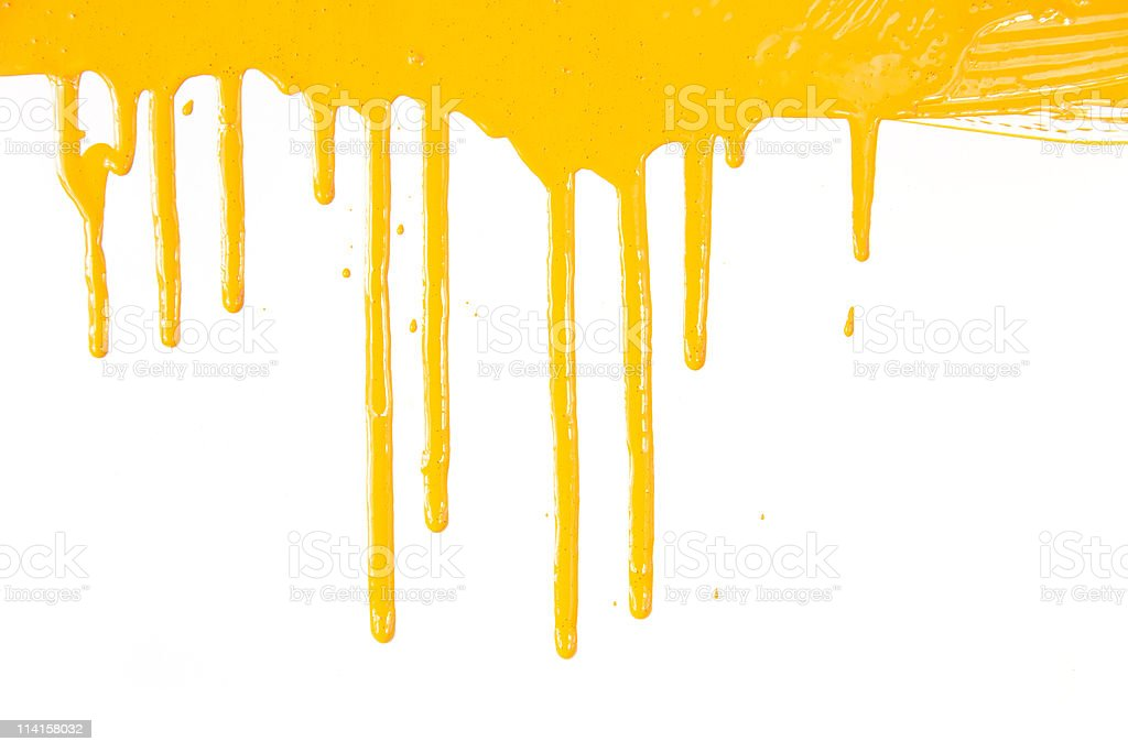 Orange paint  dripping / isolated on white / real photo royalty-free stock photo