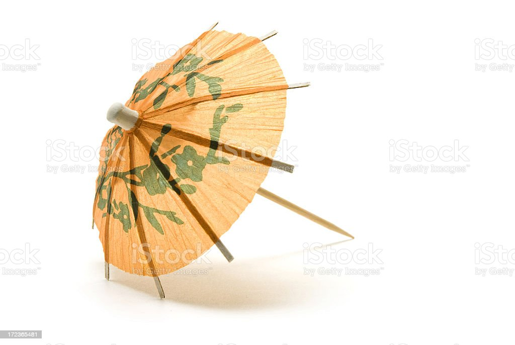 Orange Paper Cocktail Umbrella stock photo