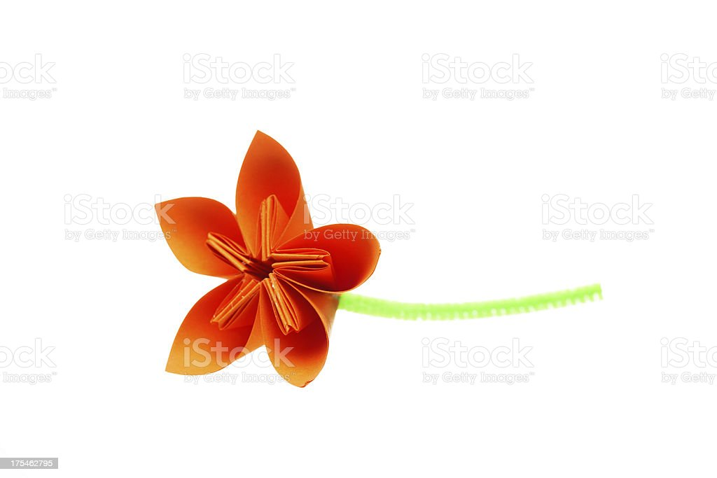 Orange paper flower stock photo