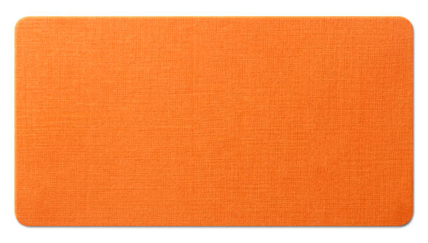 Orange paper texture on white background. Photo with clipping path. stock photo