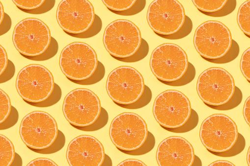 Orange Pattern On Yellow Background Stock Photo - Download Image Now