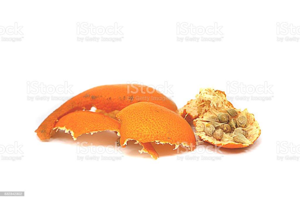 Orange peel and Seeds on background white ,isolate . stock photo
