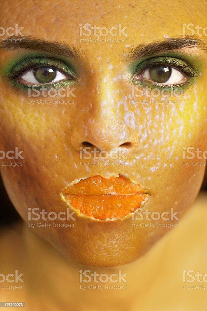 Orange peel woman stock photo