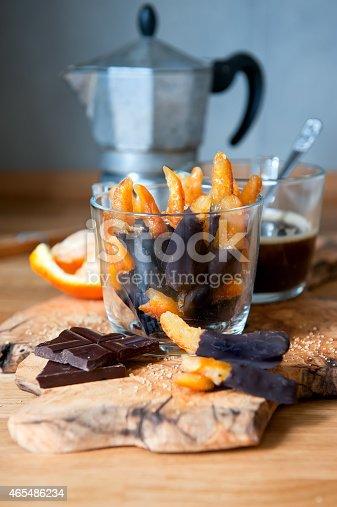 orange peels with chocolate and coffee