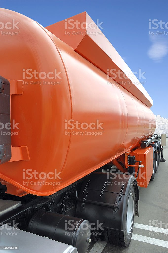 Orange petrol tanke royalty-free stock photo