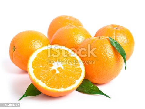 shot of fresh orange on white background