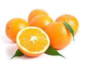 shot of fresh orange on white background